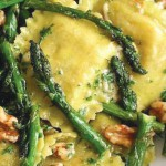 Cheese Ravioli with Walnuts and Asparagus